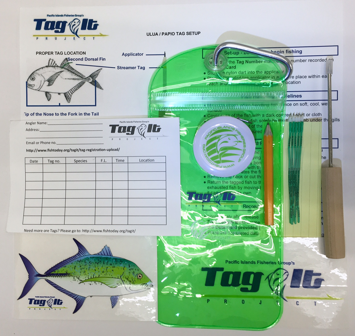 Get involved pacific islands fisheries group for Fish tagging kit